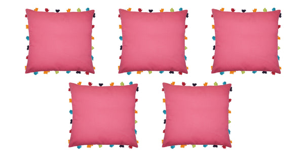 Lushomes Rasberry Cushion Cover with Colorful tassels (Single pc, 18 x 18‰۝)