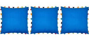 "Lushomes Sky Diver Cushion Cover with Colorful tassels (3 pcs, 18 x 18"") - Lushomes"