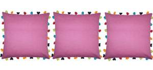 "Lushomes Bordeaux Cushion Cover with Colorful tassels (3 pcs, 20 x 20"") - Lushomes"