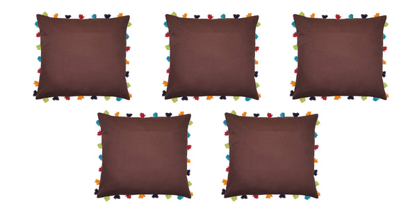 "Lushomes French Roast Cushion Cover with Colorful tassels (5 pcs, 20 x 20"") - Lushomes"