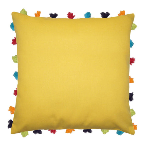 "Lushomes Lemon Chrome Cushion Cover with Colorful tassels (Single pc, 20 x 20"") - Lushomes"