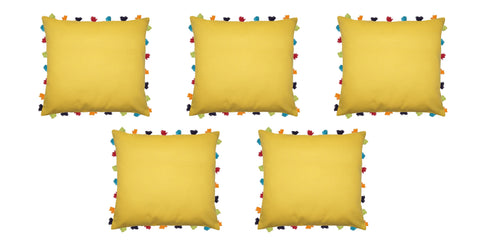 "Lushomes Lemon Chrome Cushion Cover with Colorful tassels (5 pcs, 20 x 20"") - Lushomes"