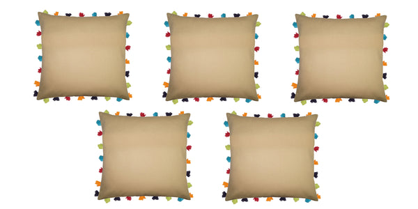 Lushomes Sand Cushion Cover with Colorful tassels (Single pc, 20 x 20‰۝)