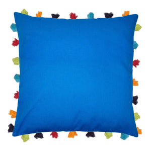 "Lushomes Sky Diver Cushion Cover with Colorful tassels (Single pc, 20 x 20"") - Lushomes"
