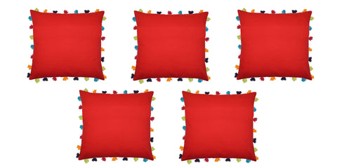 "Lushomes Tomato Cushion Cover with Colorful tassels (5 pcs, 20 x 20"") - Lushomes"