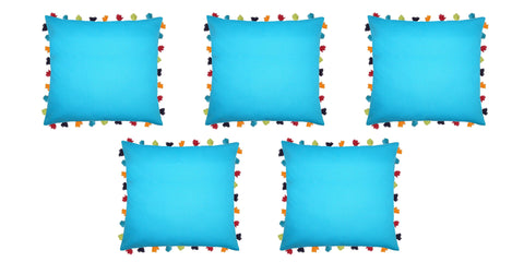 "Lushomes Bachelor Button Cushion Cover with Colorful tassels (5 pcs, 24 x 24"") - Lushomes"