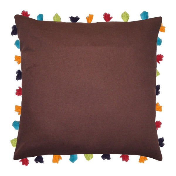 "Lushomes French Roast Cushion Cover with Colorful tassels (Single pc, 24 x 24"") - Lushomes"