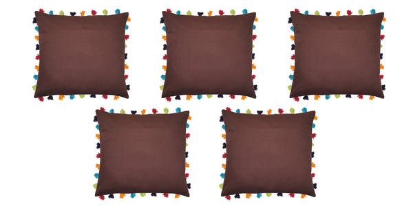 Lushomes French Roast Cushion Cover with Colorful tassels (Single pc, 24 x 24‰۝)