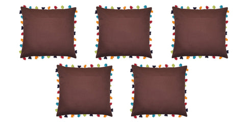 "Lushomes French Roast Cushion Cover with Colorful tassels (5 pcs, 24 x 24"") - Lushomes"