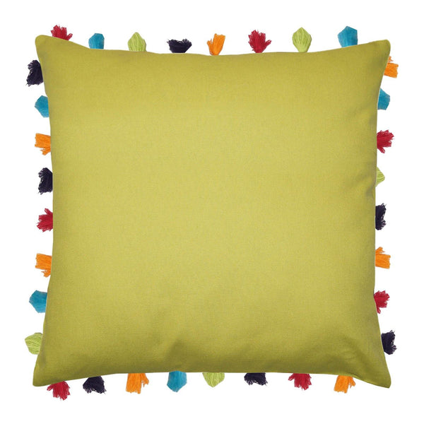 "Lushomes Palm Cushion Cover with Colorful tassels (5 pcs, 24 x 24"") - Lushomes"
