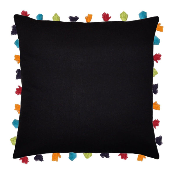 "Lushomes Pirate Black Cushion Cover with Colorful tassels (Single pc, 24 x 24"") - Lushomes"