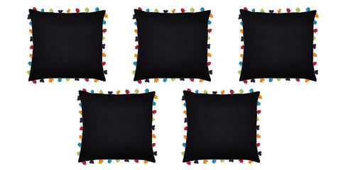 "Lushomes Pirate Black Cushion Cover with Colorful tassels (5 pcs, 24 x 24"") - Lushomes"