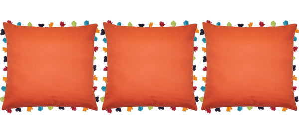 "Lushomes Red Wood Cushion Cover with Colorful tassels (3 pcs, 24 x 24"") - Lushomes"