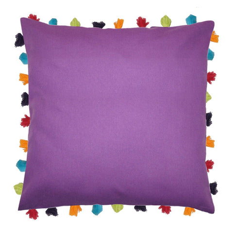 "Lushomes Royal Lilac Cushion Cover with Colorful tassels (Single pc, 24 x 24"") - Lushomes"