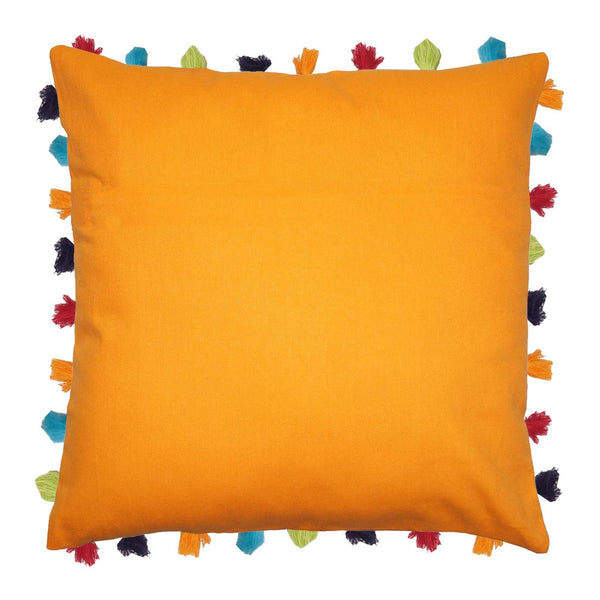 "Lushomes Sun Orange Cushion Cover with Colorful tassels (3 pcs, 24 x 24"") - Lushomes"