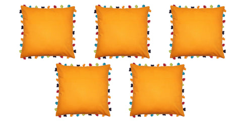 "Lushomes Sun Orange Cushion Cover with Colorful tassels (5 pcs, 24 x 24"") - Lushomes"