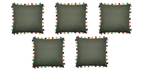 "Lushomes Vineyard Green Cushion Cover with Colorful tassels (5 pcs, 24 x 24"") - Lushomes"