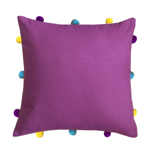 "Lushomes Bordeaux Cushion Cover with Colorful pom poms (3 pcs, 12 x 12"") - Lushomes"