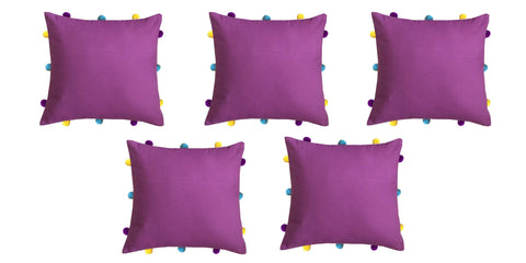 "Lushomes Bordeaux Cushion Cover with Colorful pom poms (5 pcs, 12 x 12"") - Lushomes"