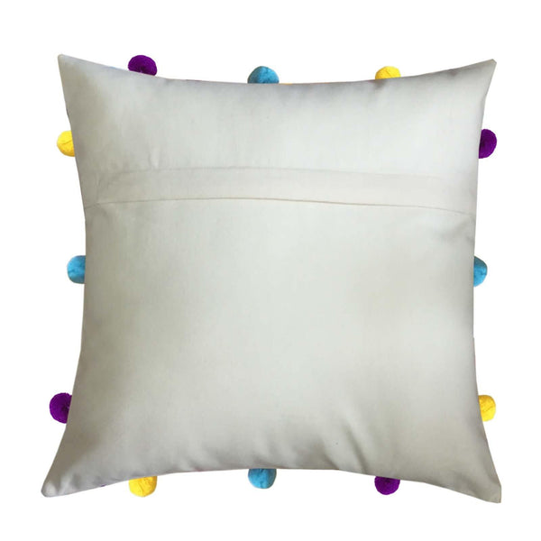 "Lushomes Ecru Cushion Cover with Colorful pom poms (5 pcs, 12 x 12"") - Lushomes"