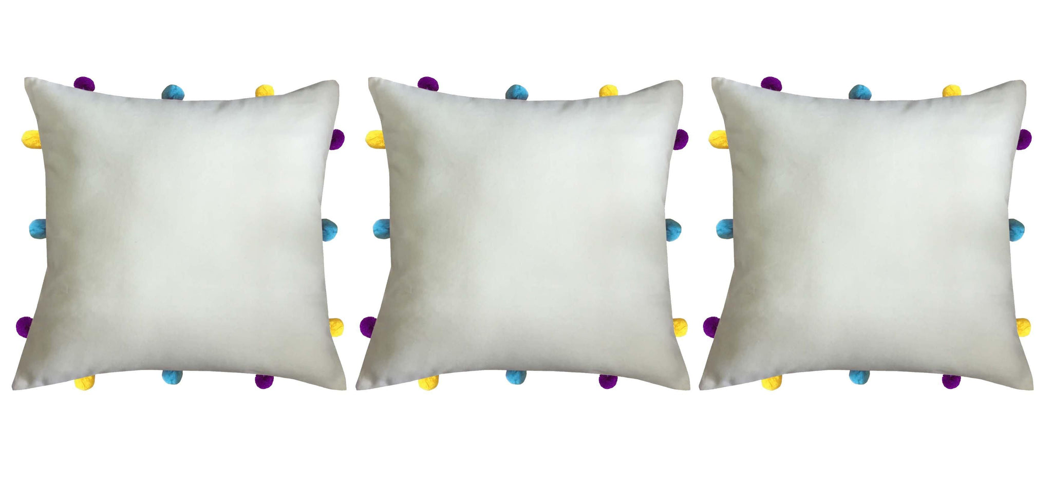 "Lushomes Ecru Cushion Cover with Colorful pom poms (3 pcs, 12 x 12"") - Lushomes"