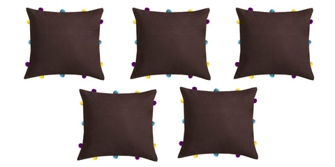 "Lushomes French Roast Cushion Cover with Colorful pom poms (5 pcs, 12 x 12"") - Lushomes"