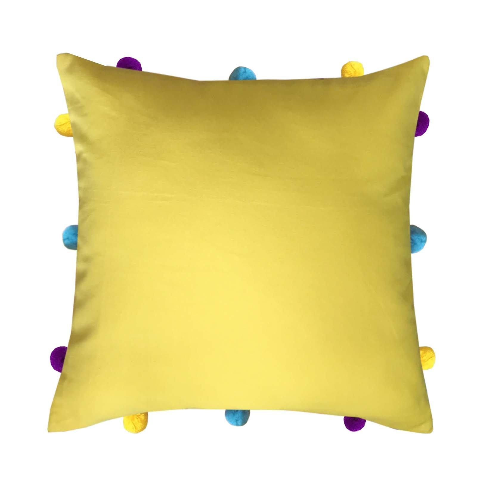 "Lushomes Lemon Chrome Cushion Cover with Colorful pom poms (Single pc, 12 x 12"") - Lushomes"