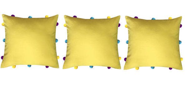 Lushomes Lemon Chrome Cushion Cover with Colorful pom poms (Single pc, 12 x 12‰۝)