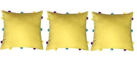 "Lushomes Lemon Chrome Cushion Cover with Colorful pom poms (3 pcs, 12 x 12"") - Lushomes"