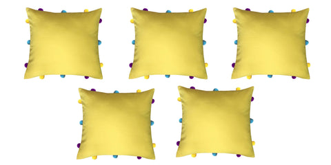 "Lushomes Lemon Chrome Cushion Cover with Colorful pom poms (5 pcs, 12 x 12"") - Lushomes"
