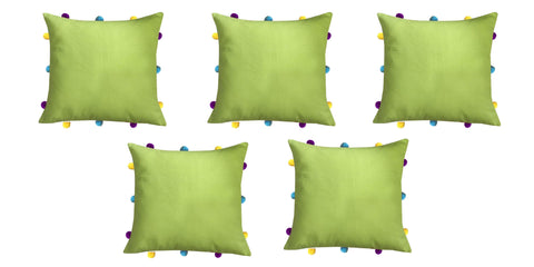 "Lushomes Palm Cushion Cover with Colorful pom poms (5 pcs, 12 x 12"") - Lushomes"