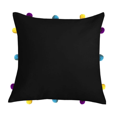 "Lushomes Pirate Black Cushion Cover with Colorful pom poms (Single pc, 12 x 12"") - Lushomes"