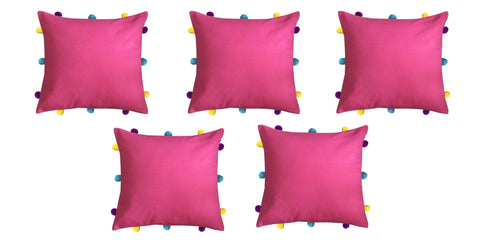 "Lushomes Rasberry Cushion Cover with Colorful pom poms (5 pcs, 12 x 12"") - Lushomes"