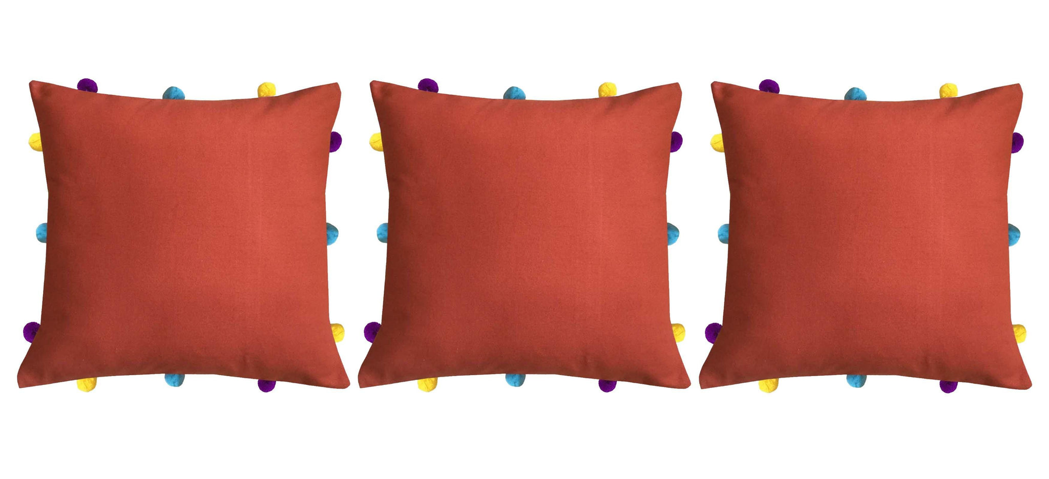 "Lushomes Red Wood Cushion Cover with Colorful pom poms (3 pcs, 12 x 12"") - Lushomes"