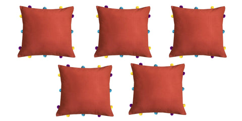 "Lushomes Red Wood Cushion Cover with Colorful pom poms (5 pcs, 12 x 12"") - Lushomes"