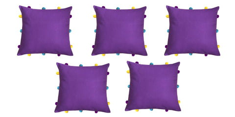 "Lushomes Royal Lilac Cushion Cover with Colorful pom poms (5 pcs, 12 x 12"") - Lushomes"