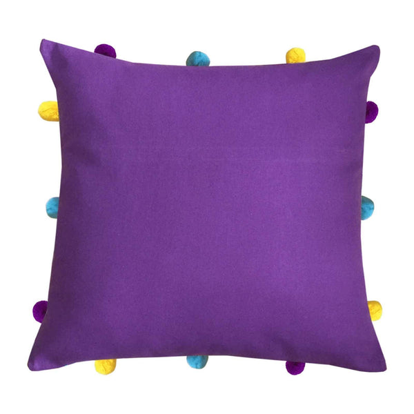 "Lushomes Royal Lilac Cushion Cover with Colorful pom poms (Single pc, 12 x 12"") - Lushomes"
