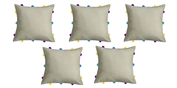 Lushomes Sand Cushion Cover with Colorful pom poms (Single pc, 12 x 12‰۝)