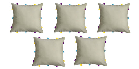 "Lushomes Sand Cushion Cover with Colorful pom poms (5 pcs, 12 x 12"") - Lushomes"