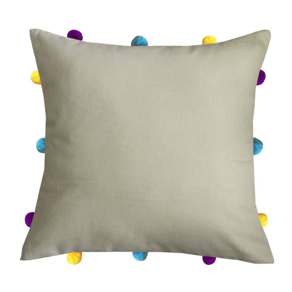 "Lushomes Sand Cushion Cover with Colorful pom poms (Single pc, 12 x 12"") - Lushomes"
