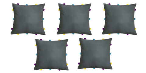 "Lushomes Sedona Sage Cushion Cover with Colorful pom poms (5 pcs, 12 x 12"") - Lushomes"