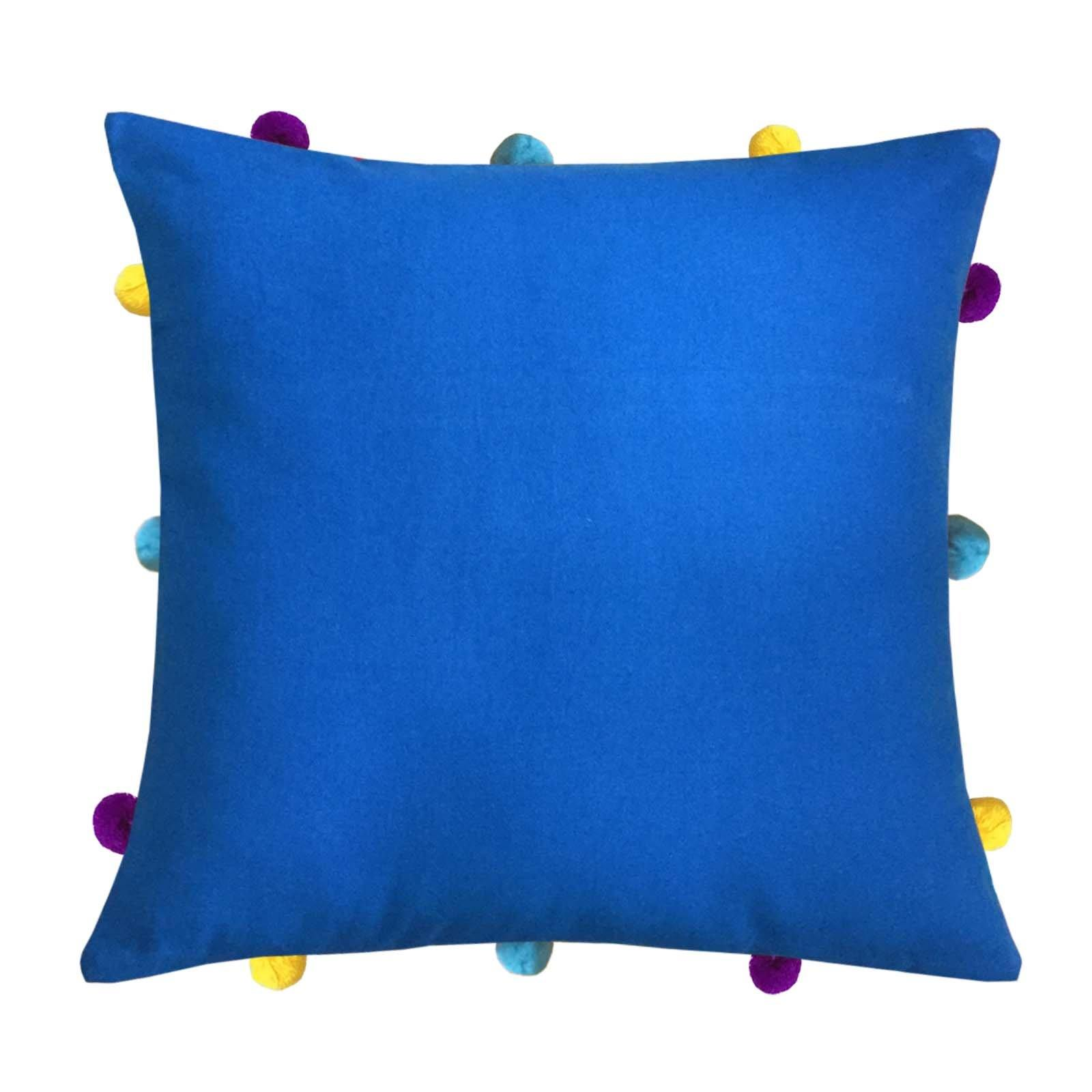 "Lushomes Sky Diver Cushion Cover with Colorful pom poms (Single pc, 12 x 12"") - Lushomes"