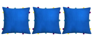 "Lushomes Sky Diver Cushion Cover with Colorful pom poms (3 pcs, 12 x 12"") - Lushomes"