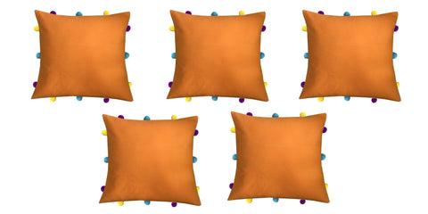 "Lushomes Sun Orange Cushion Cover with Colorful pom poms (5 pcs, 12 x 12"") - Lushomes"