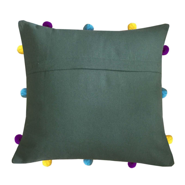 "Lushomes Vineyard Green Cushion Cover with Colorful pom poms (3 pcs, 12 x 12"") - Lushomes"