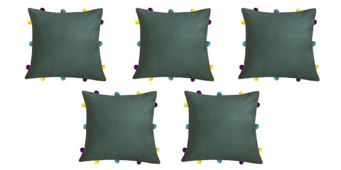 "Lushomes Vineyard Green Cushion Cover with Colorful pom poms (5 pcs, 12 x 12"") - Lushomes"