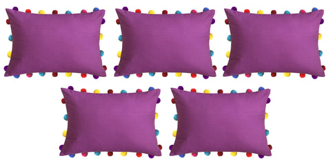 "Lushomes Bordeaux Cushion Cover with Colorful Pom poms (5 pcs, 14 x 20"") - Lushomes"