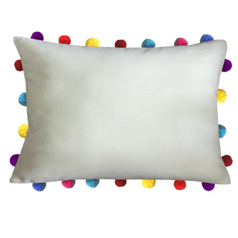 "Lushomes Ecru Cushion Cover with Colorful Pom poms (Single pc, 14 x 20"") - Lushomes"