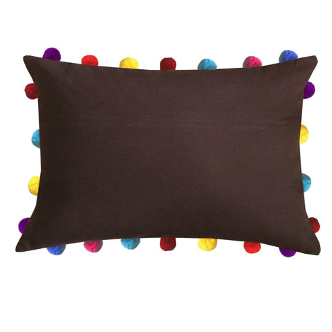 "Lushomes French Roast Cushion Cover with Colorful Pom poms (Single pc, 14 x 20"") - Lushomes"