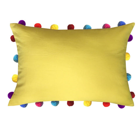 "Lushomes Lemon Chrome Cushion Cover with Colorful Pom poms (Single pc, 14 x 20"") - Lushomes"